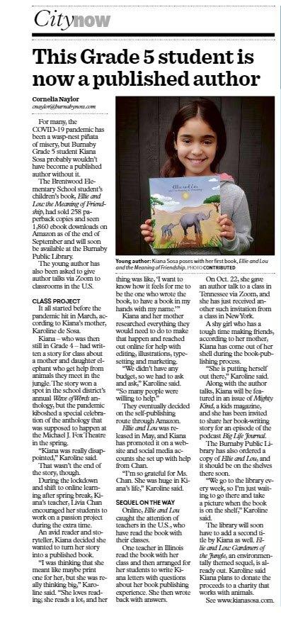 newspaper article Kiana Sosa book children book kid author