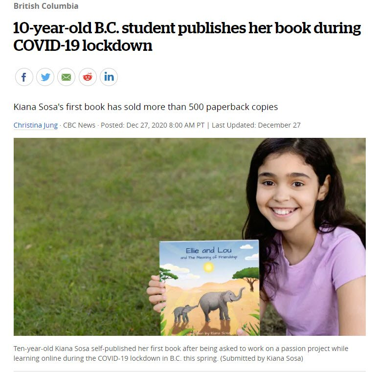 10-year-old B.C. student publishes her book during COVID-19 lockdown